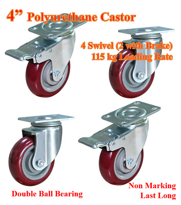"4"" Polyurethane Castor Wheels, 4 swivel (2 with Brake), high quality caster"