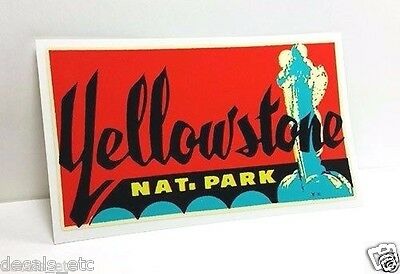 Yellowstone Park 1950's Vintage Style Travel Decal, Vinyl Sticker, Luggage Label