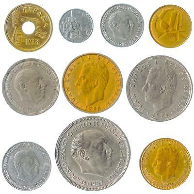 Lot of 15 Espana Spain Coins Pesetas Peseta Céntimos 1939-2001
