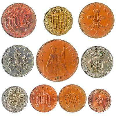 Lot of 15 UK England Great Britain Coins Pound Penny Shilling Pence 1937-Now