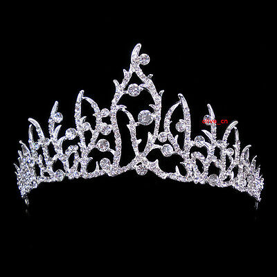7cm High Elegant Flower White Clear Crystal Wedding Party Pageant Prom Tiara