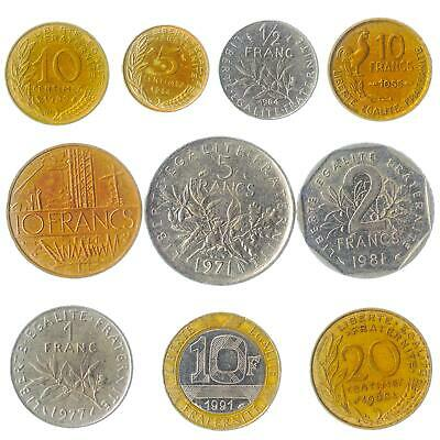 Lot Of 10 French Coins France Francs Centimes 1959-2001 Pre-Euro