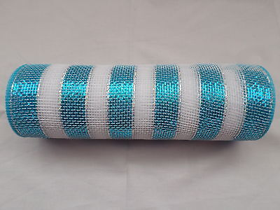 Turquoise and White Striped Deco Mesh 10 inches by 10 yards