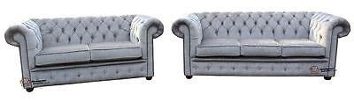 Chesterfield 3+2 Seater Perla Illusions Grey Fabric Sofa Settee Suite