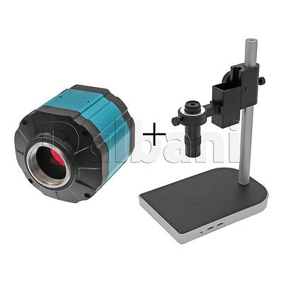 New Digital Microscope Camera Body with Stand and Lens 2MP Blue C-Mount VGA