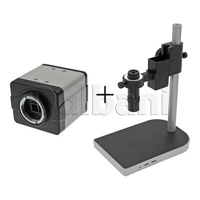 New Digital Microscope Camera Body with Stand and Lens White C-Mount VGA Video