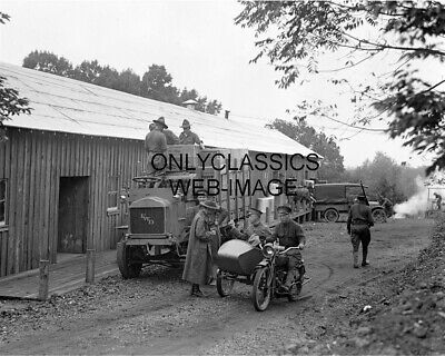 1917 U.s Army Wwi Harley Davidson Sidecar Motorcycle Supply Truck Photo Soldiers