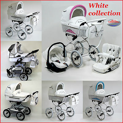 WHITE COLLECTION Pram pushchair stroller baby buggy retro travel system 2,3 in 1