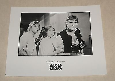 1990 Fox STAR WARS TRILOGY B/W PROMO MOVIE PHOTO HARRISON FORD CARRIE FISHER