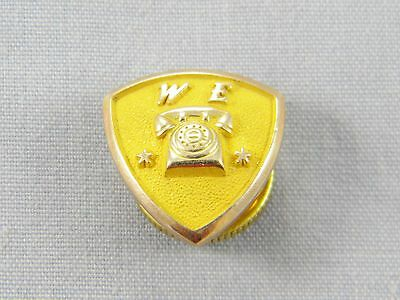 Western Electric Telephone 2 Star Service Pin 10k Yellow Gold 1.2dwt / 1.8g
