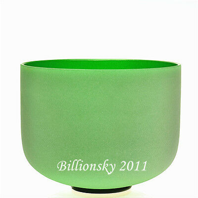Green Colored F Heart Chakra Frosted Quartz Crystal Singing Bowl 10 inch +Mallet