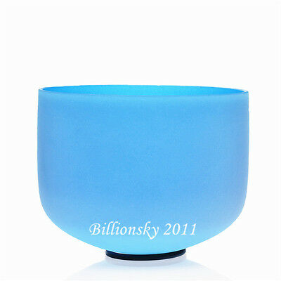 """Blue Colored G Throat Chakra Frosted Quartz Crystal Singing Bowl 8 """" + Mallet"""
