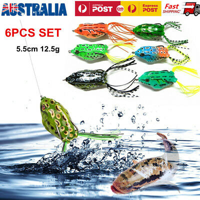 6XTopwater Popper Soft Frog Fishing Lure Surface Lure For Cod Barra Bass Perch