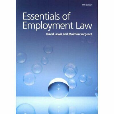 Essentials of Employment Law by David Lewis and Malcolm Sargeant Paperback Book