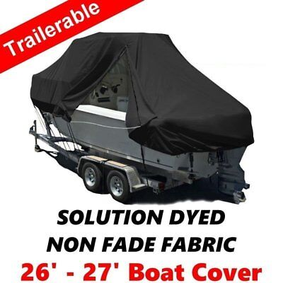 New Design with Zipper 600D 7.9-8.2m 26-27ft T-Top Jumbo Boat Cover Black