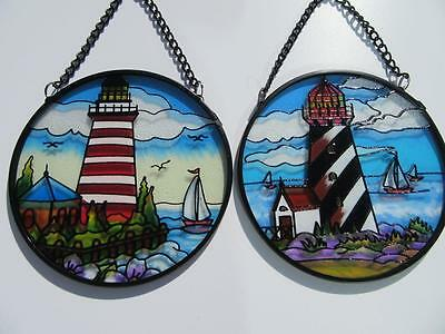 Lighthouse Suncatcher Black or Red Lighthouse Stained Glass Sun Catcher NEW