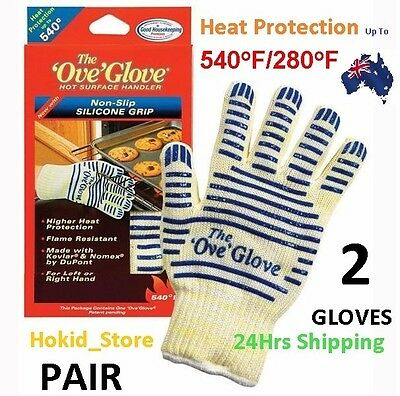 2X Heat Proof Resistant Cooking Kitchen Oven Glove 540°F Hot Surface Handler Ca