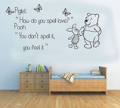 wall stickers winnie the pooh feel the love vinyl decal decor Nursery kids