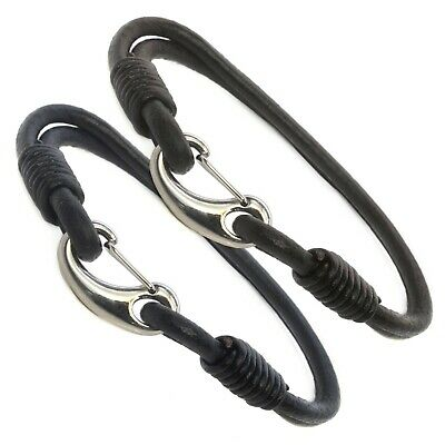 Mens Genuine Leather Braided Bracelet/Wristband Stainless Steel Clasp - Choose