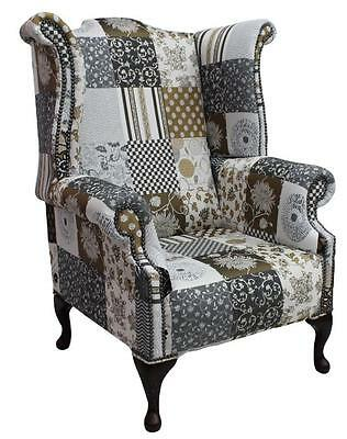 Chesterfield 1780's Patchwork Jubilee Queen Anne High Back Wing Chair Fabric