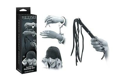 PD4435-00 SET ACCESSORI Kit Fetish Love Black Manette + Frustino + Mascherina
