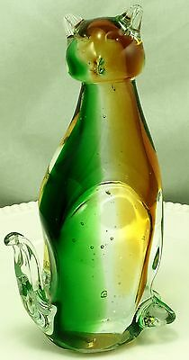 Heavy Tall Big Mid Century Green Murano Glass Cat Paperweight 2 1/2 Pounds Rare