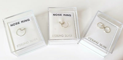 Boxed GENUINE sterling silver nose - tragus ring - piercing -  8 or 10mm 0ptions