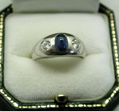 Superb Quality Vintage Very Heavy Platinum Cabachon Cut Sapphire & Diamond Ring