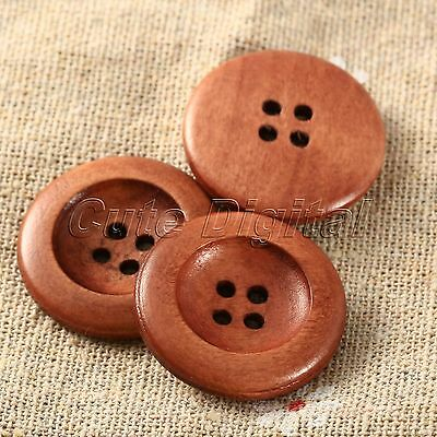 50pcs Coffee Brown 4 Holes Round Wood DIY Craft Sewing Scrapbooking Buttons 25mm