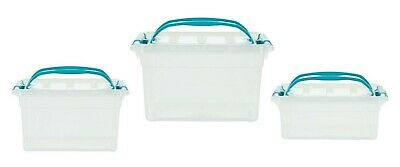 Rectangular Plastic Storage Boxes Clear With Teal Handle Clip Top Container