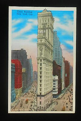1920s Times Building The New York Times Square Old Cars Trolley NYC NY Postcard