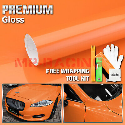 *Gloss Glossy Orange Vinyl Car Wrap Sticker Decal Bubble Free Air Release Film
