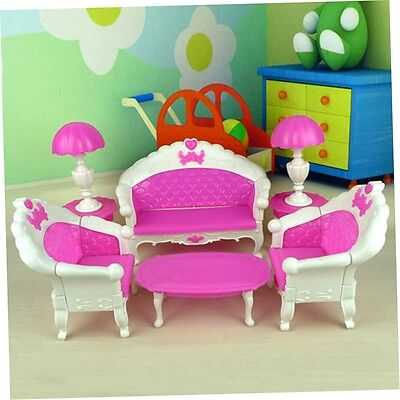 7Pcs Toys Barbie Doll Sofa Chair Couch Desk Lamp Furniture Set Disassembled ST