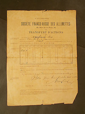 RUSSIA: RUSSIAN MATCH COMPANY / TRANSFER SHARE CERT. for 1 SHARE 1894 from PARIS