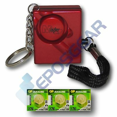 Red 140db Personal Panic Rape Attack Safety Keyring Alarm with Spare Batteries
