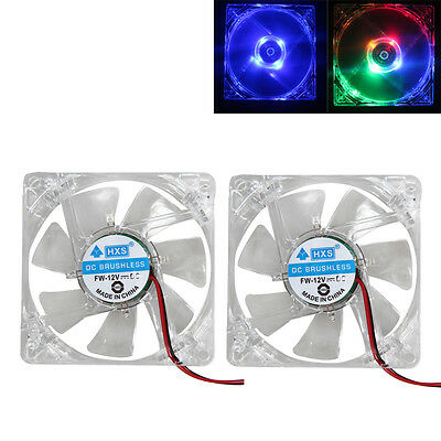 2Pcs LED Case Fan 12V 4Pin 80mm 80x25mm For Computer PC CPU Cooling Cooler
