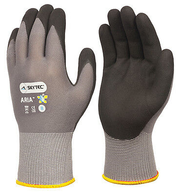 1 x Pair Of Skytec NEON XTRA Yellow Dipped Nitrile Work Wear Gloves Fully Coated