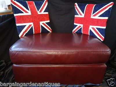 Vintage Chesterfield Style Art Deco Large Leather Footstool Oxblood Burgundy