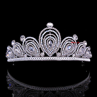 6cm High Drip Opal Full Crystal Tiara Crown Wedding Bridal Prom Party Pageant
