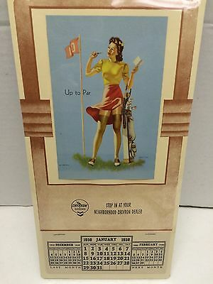 Vintage 1950 Chevron Gas Calender Full Pad Great Condition