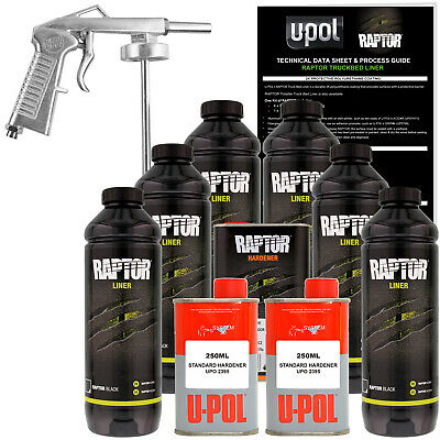 Raptor Black Urethane Spray-On Truck Bed Liner Spray Gun, 6 Liters
