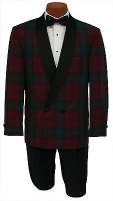 Vintage Mens 38S Green & Red Plaid Double Breasted 2 Btn Shawl Tuxedo Jacket