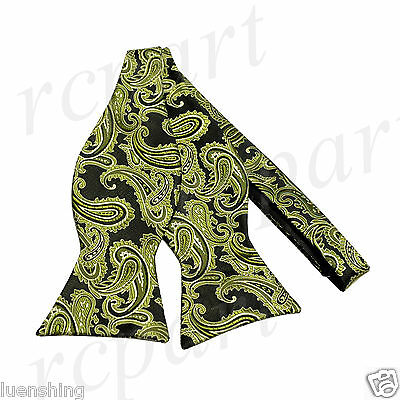 New Brand Q Men's micro fiber formal Self-tied Bow tie only olive black paisley