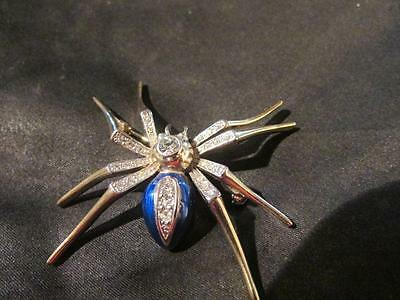 Fabulous Vintage Quality Paste & Enamel Spider Brooch