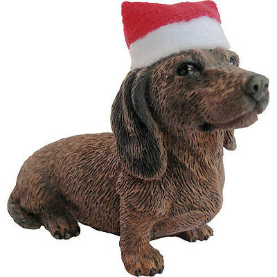 DACHSHUND Red Ornament Santa Hat NEW Christmas Sandicast Dog Doxie Puppy