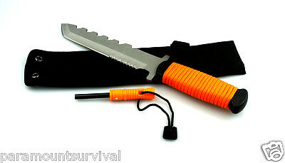 """11"""" Orange Paracord Outdoor Hunting Knife with Fire Starter and Whistle Camping"""