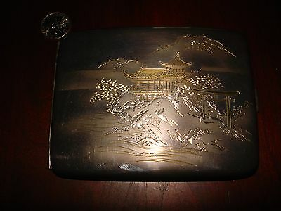 Amazing Unique Japanese Sterling Silver Cigarette Case.950 Hand Engraved (114gr)