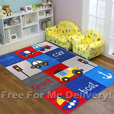 SUPER KIDS CAR BOAT TRAIN BOYS FUN FLOOR RUG (S) 100x150cm **FREE DELIVERY**