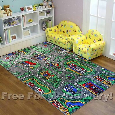 SUPER KIDS CITY ROADS FUN CAR FLOOR PLAY RUG (S)100x150cm **FREE DELIVERY**