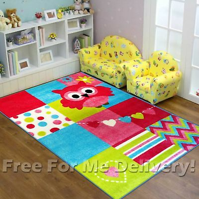 SUPER KIDS OWL PATCHWORK GIRLS FUN FLOOR PLAY RUG (XS) 100x150cm **FREE DELIVERY